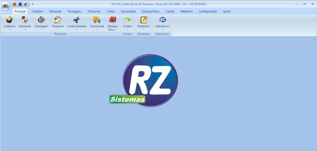 Janela Principal do Rz PCP Confecção