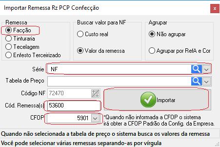Importar Remessa Rz PCP Confecção